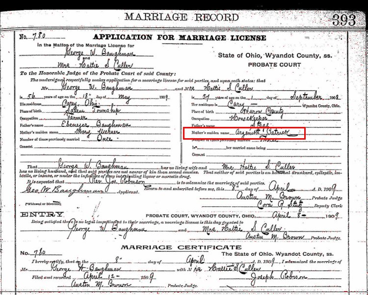 Marriage license - George W Baughman and Harriet Sarah (Stage) Culler