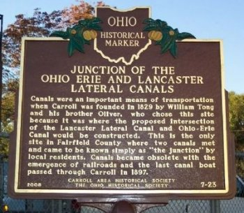 William H Tong laid out the town of Carroll, Ohio at the junction of the Ohio and Hocking Canal.
